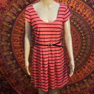 Candies striped belted A-Line dress size Large